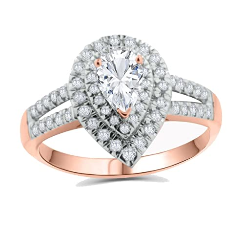 e4a996eb6a9f47 Image Unavailable. Image not available for. Color: 10K Rose Gold Tear Drop Engagement  Ring Moissanite Solitaire and Diamonds ...