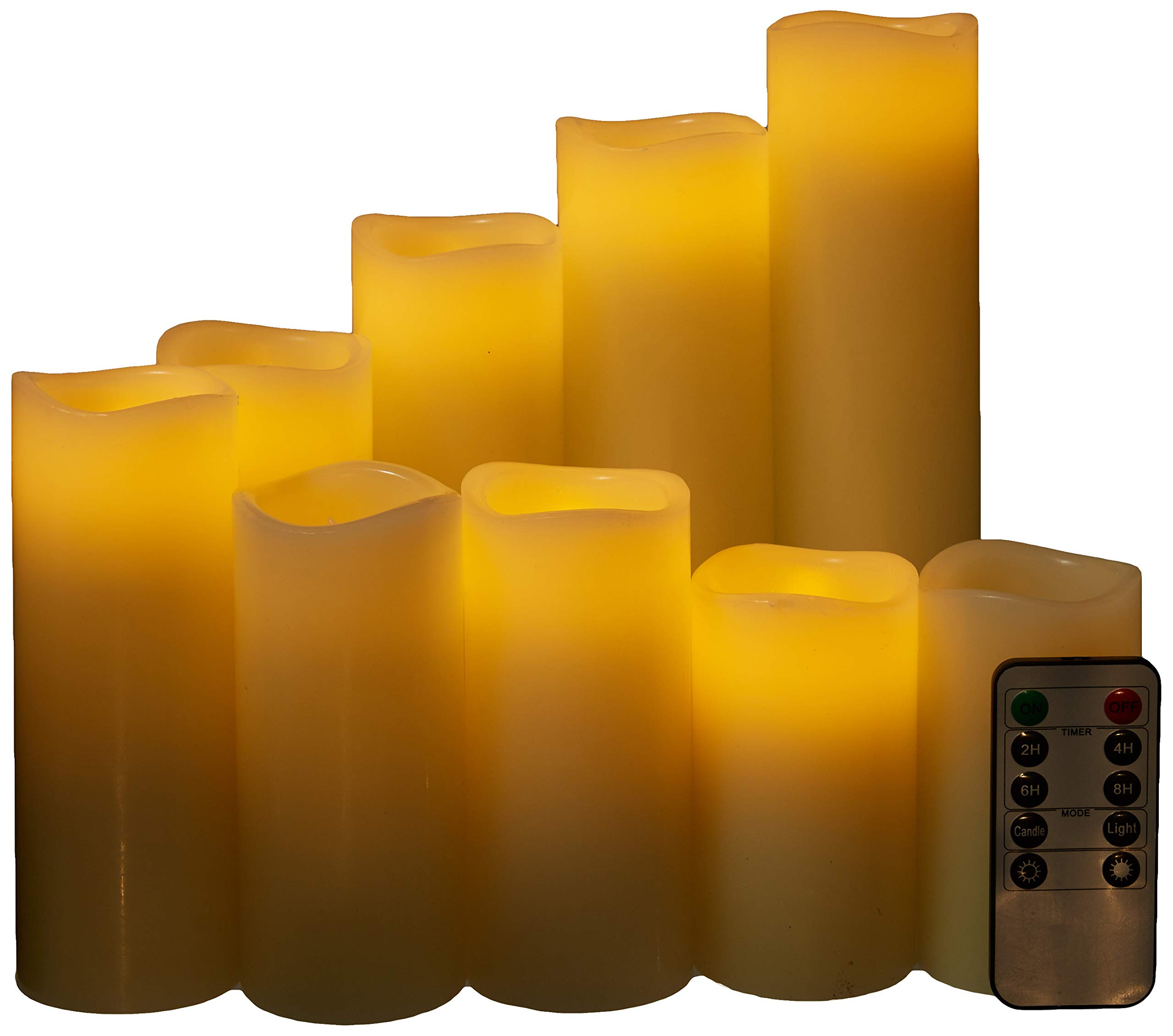 Homelife Flameless Candles, Led Candles Set of 9(H 4'' 5'' 6'' 7'' 8'' 9'' xD 2.2'') Ivory Color unscented Candles Real Wax Battery Candles with Remote and 24 Hours Timer Functions