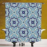 Waterproof Shower Curtain 3.0 by SCOCICI [ Moroccan,Moroccan Portuguese Style Classic Tiles Ornaments Islamic Historical Buildings Art,Blue White ] Machine Washable,Shower Hooks are Included