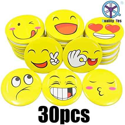 QY 30PCS 18Inch Yellow Color Tinplate Badges LOL Laugh Face Emoticon Button Pins Emoji Laughing