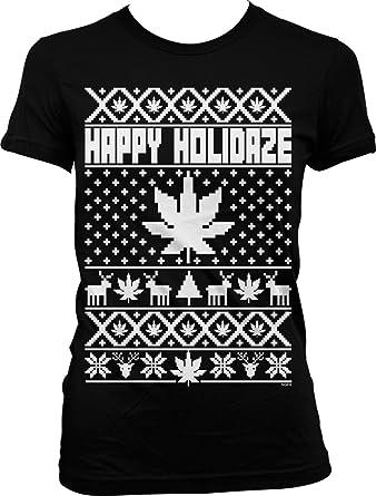 hoodteez happy holidaze marijuana ugly christmas sweater juniors t shirt s black