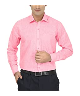 Jay & u Men's Cotton Linen Blend Formal Shirt (Pink, 42)