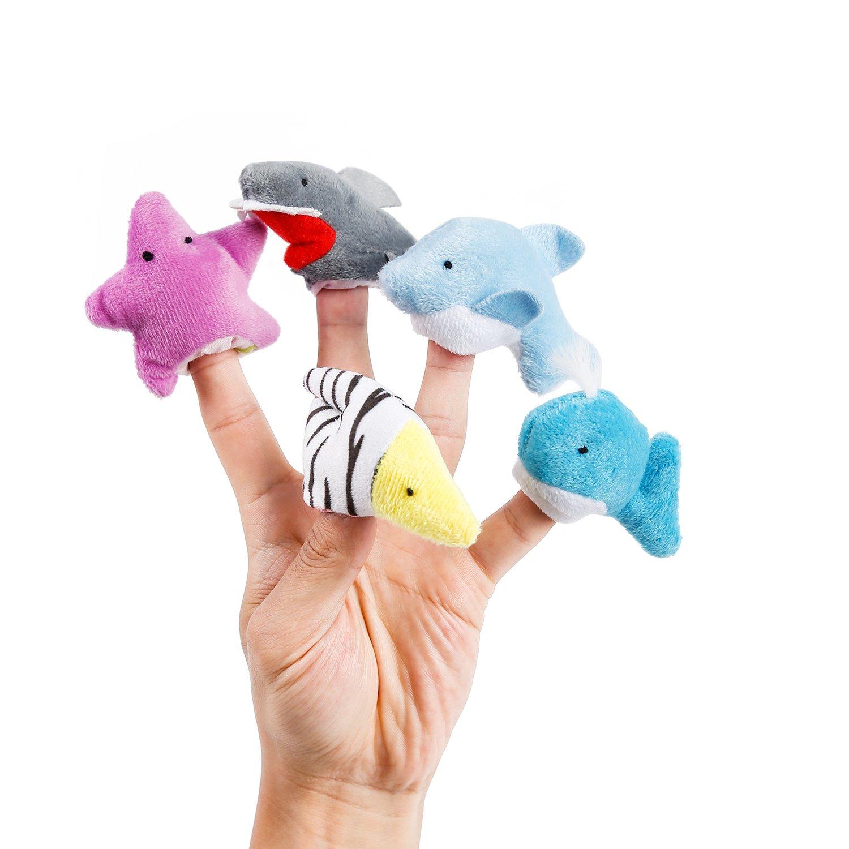 Oiuros 20pcs Different Cartoon Animal Finger Puppets Soft Velvet Dolls Props Toys by Oiuros (Image #6)