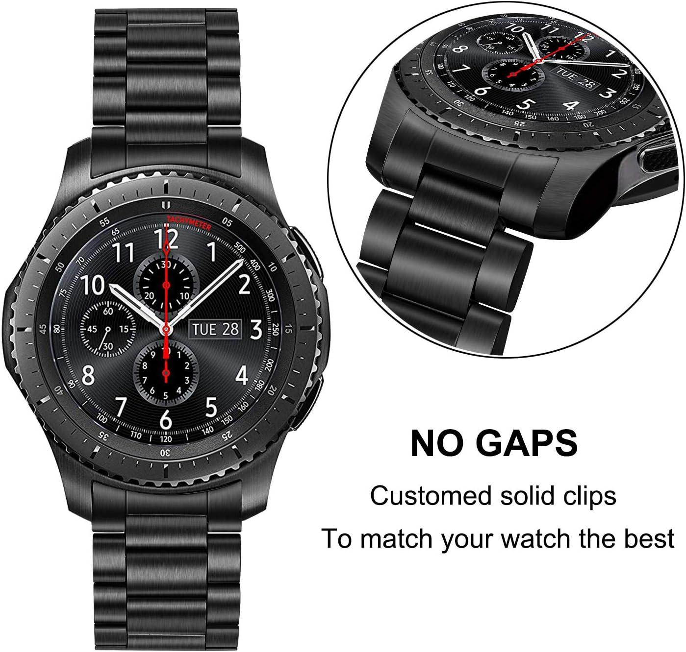 TRUMiRR Galaxy Watch 46mm/Gear S3 Bande de Montre, 22mm Bracelet en Acier Inoxydable Bracelet à Boucle Papillon avec extrémité incurvée Compatible pour Samsung Gear S3 Frontier,Gear S3 Classic Noir (version améliorée / amovible à la main)