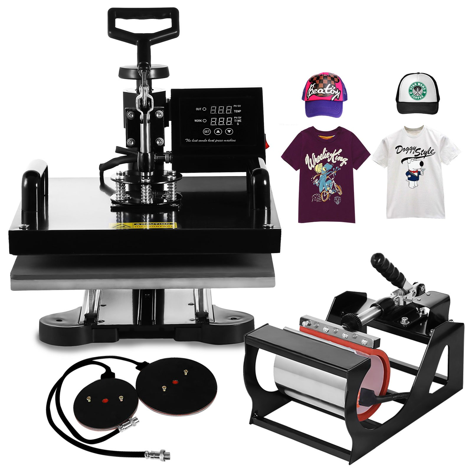 ShareProfit Heat Press 15x15 Inch Heat Press Machine 1200W Multifunction Sublimation Digital Heat Transfer Press Machine Swing Away T-Shirt Hat Mug (15X15Inch 5 IN 1)