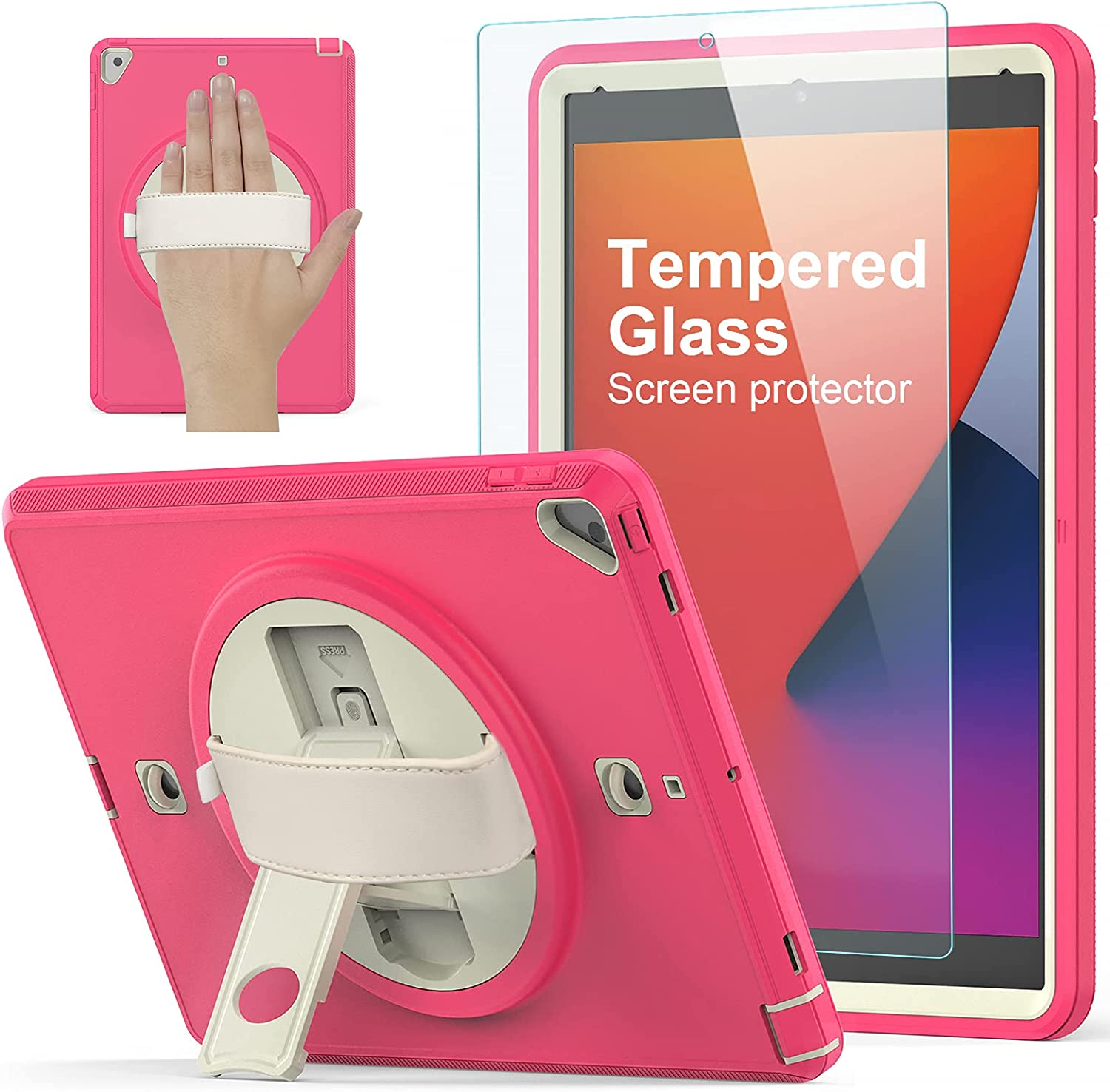 iPad 8th/7th Generation Case, iPad 10.2 Case 2020/2019, [360° Rotatable Kickstand & Hand Strap] Ambison Full Body Protective Case with Tempered Glass, Upgraded Version Shoulder Strap (Rose Red)