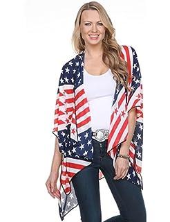 dcbbe91d3 4th of July Women's American Flag Print Kimono Cover Up Tops Shirt ...