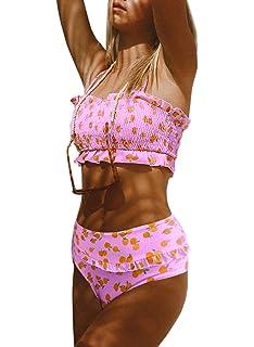 67d62e5716 Dokotoo Women Cute High Waist Strapless Smocked Bikini Sets Swimsuit  Bathing Suit