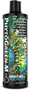 Brightwell Aquatics PhytoGreen-M, 10 - 15 micron phytoplankton suspension for soft corals, clams, sponges, & other filter-feeders, 250 ml