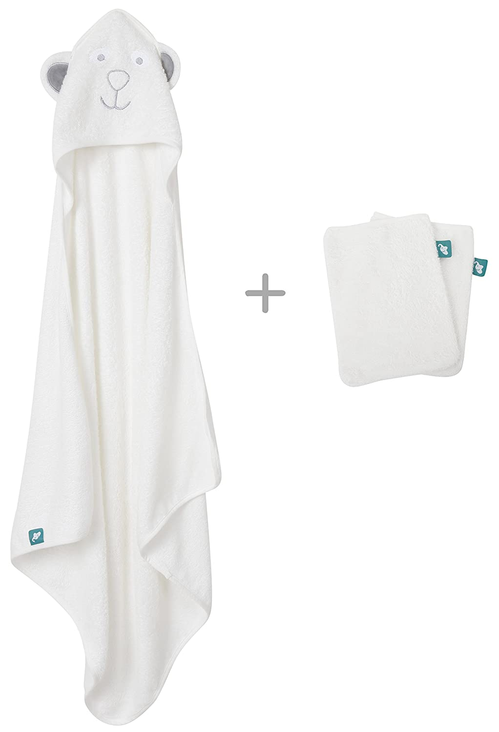 Premium 3-Piece Bamboo Hooded Baby Towel Set by Ellyfante | Large Hooded Towel (x1) plus Bamboo Bath Wash Mitts (x2) | Ideal Bath Towel Set for Babies to Toddlers | Extra soft and thick material for added comfort | EBAM007