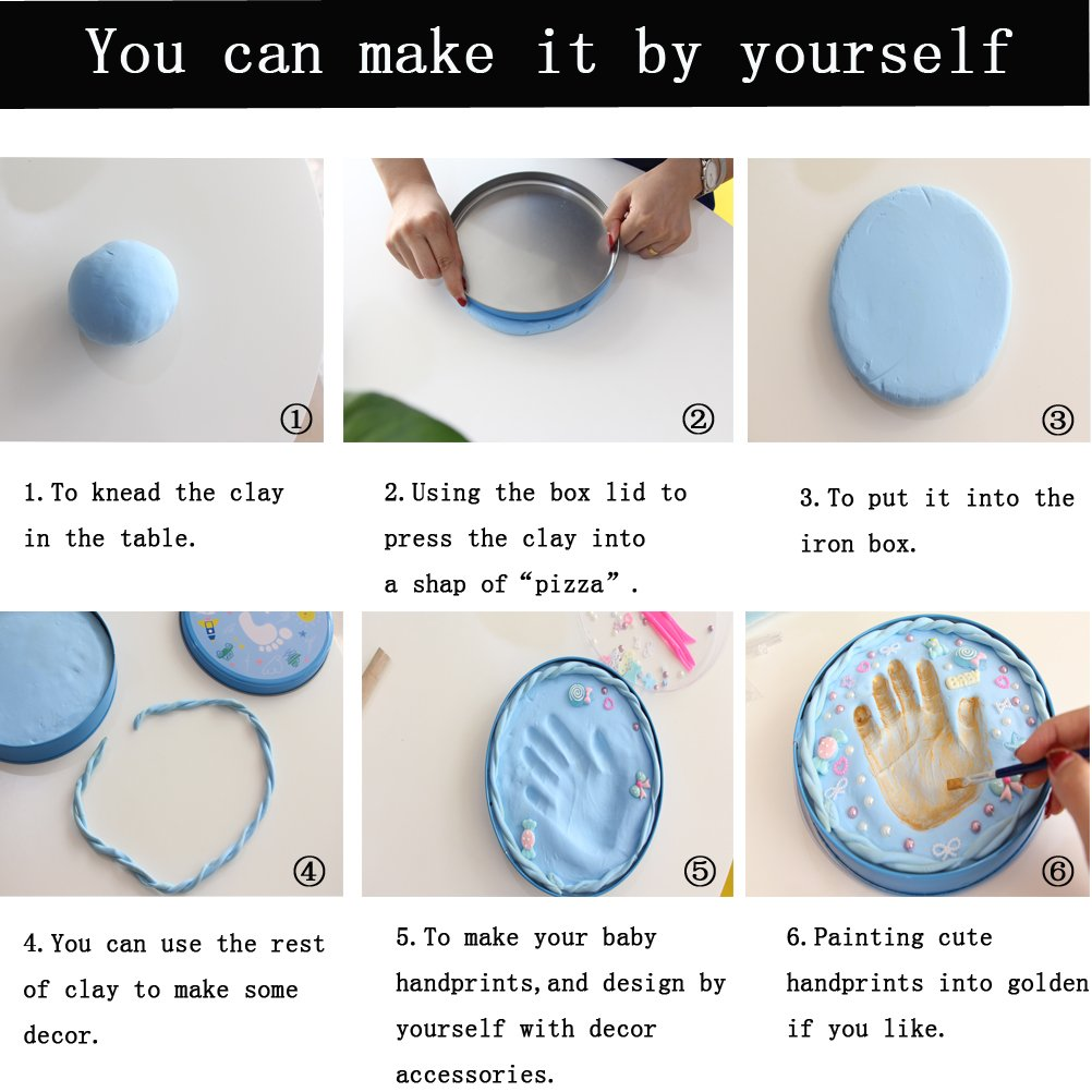 Baby Handprint Kit-Unique Shower Gifts with Non Toxic Clay, Memorable keepsake/Nursery Kit for New Baby/Parents,Perfect for Nursery Room,Bedroom,Living Room by MICHIKO (Image #4)