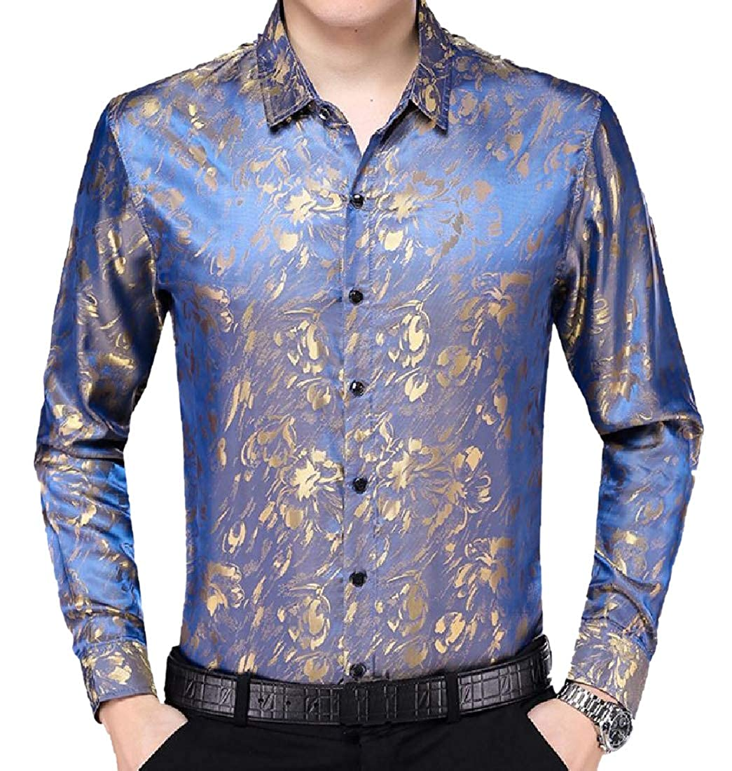NestYu Mens Original Fit Charmeuse Floral Printed Business Shirts