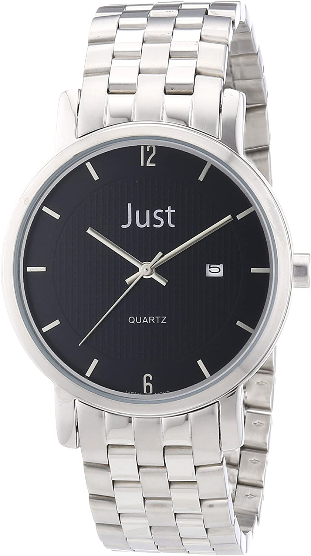 Just Watches 48-S3251-BK - Reloj analógico de Cuarzo para Hombre, Correa de Acero Inoxidable Color Plateado