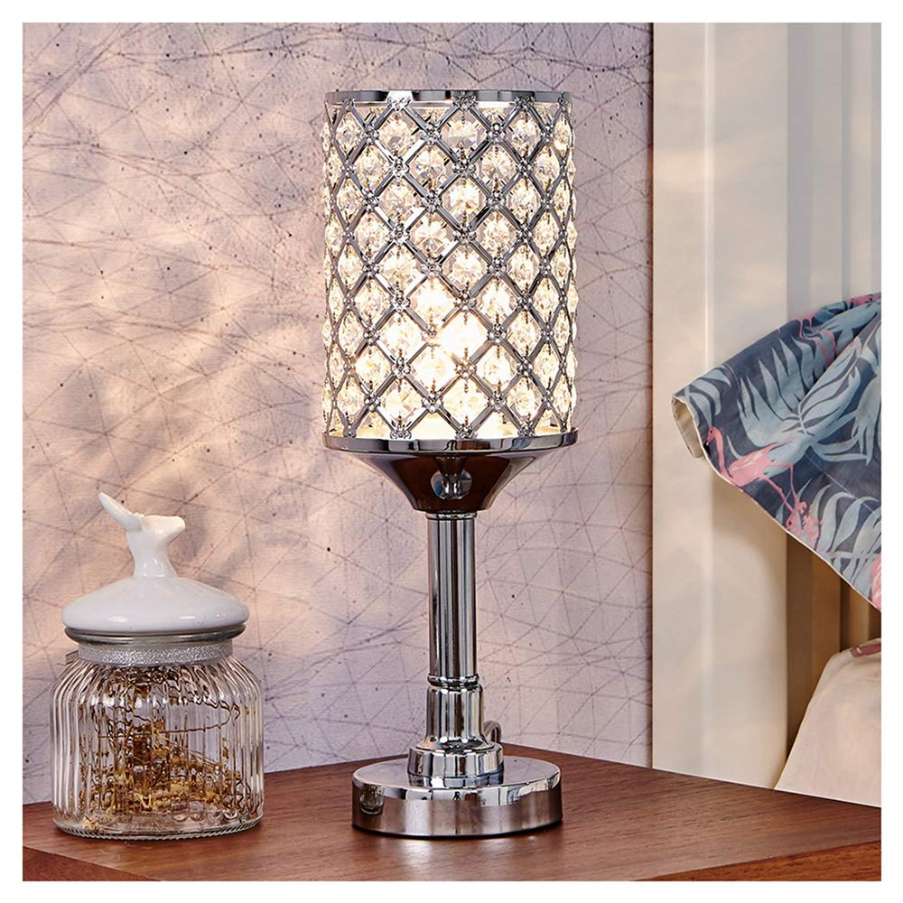 GLANZHAUS Mini Style Fashionable Atmosphere Lighting Clear Crystal Silver Table lamp, Crysta Lamp for Bedroom, Living Room, Kids Room, Coffee Table, Bookcase