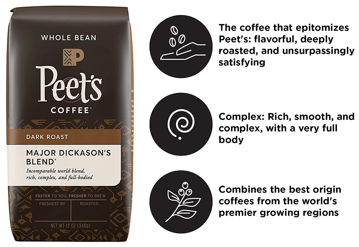Peet's Coffee Major Dickason's Blend Dark Roast Whole Bean Coffee