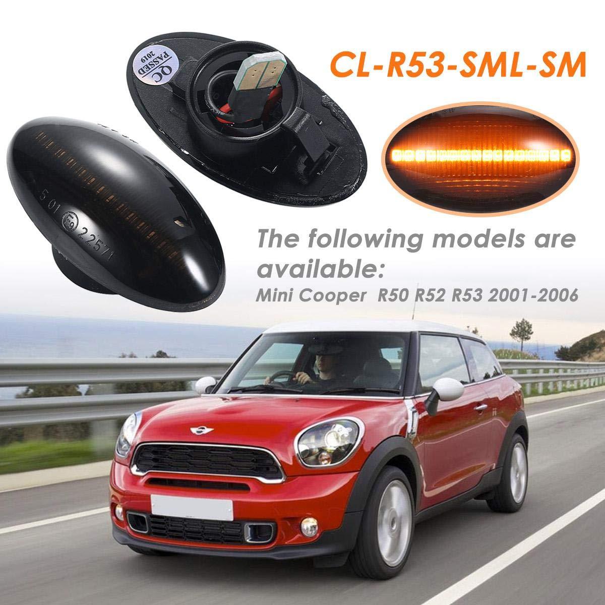 OEM Number: CL-R53-SML-SM DokFin Side Indicator 18 SMD Amber Indicators Blinker for BMW Mini Cooper R50 R52 R53 2001-2006 2 LED Flowing Side Marker Bulb