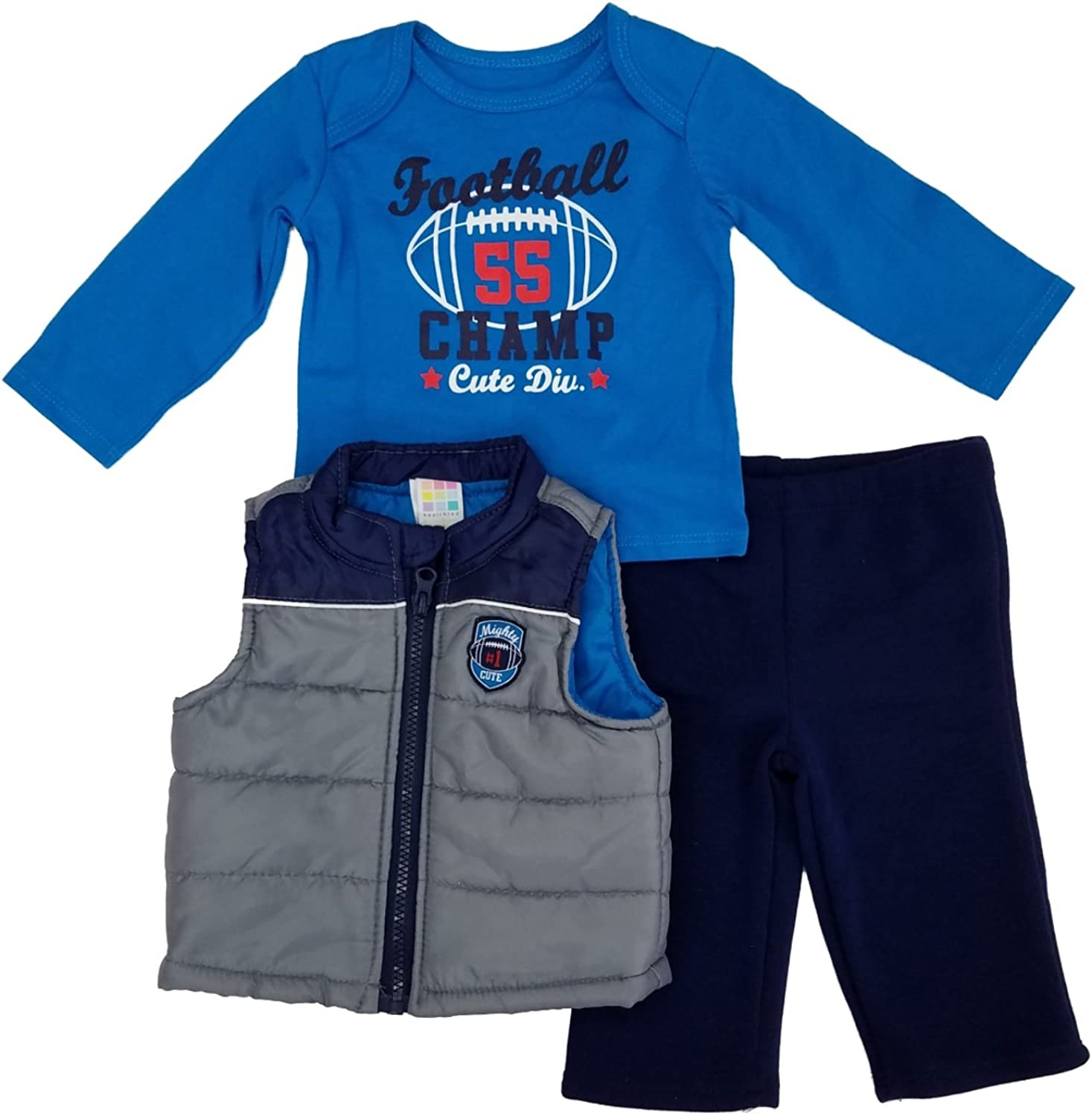 Hooded Puffer Vest Toddler Outfits Long Sleeve Tops and Tracksuit Baby Boy 3pcs Clothing Set