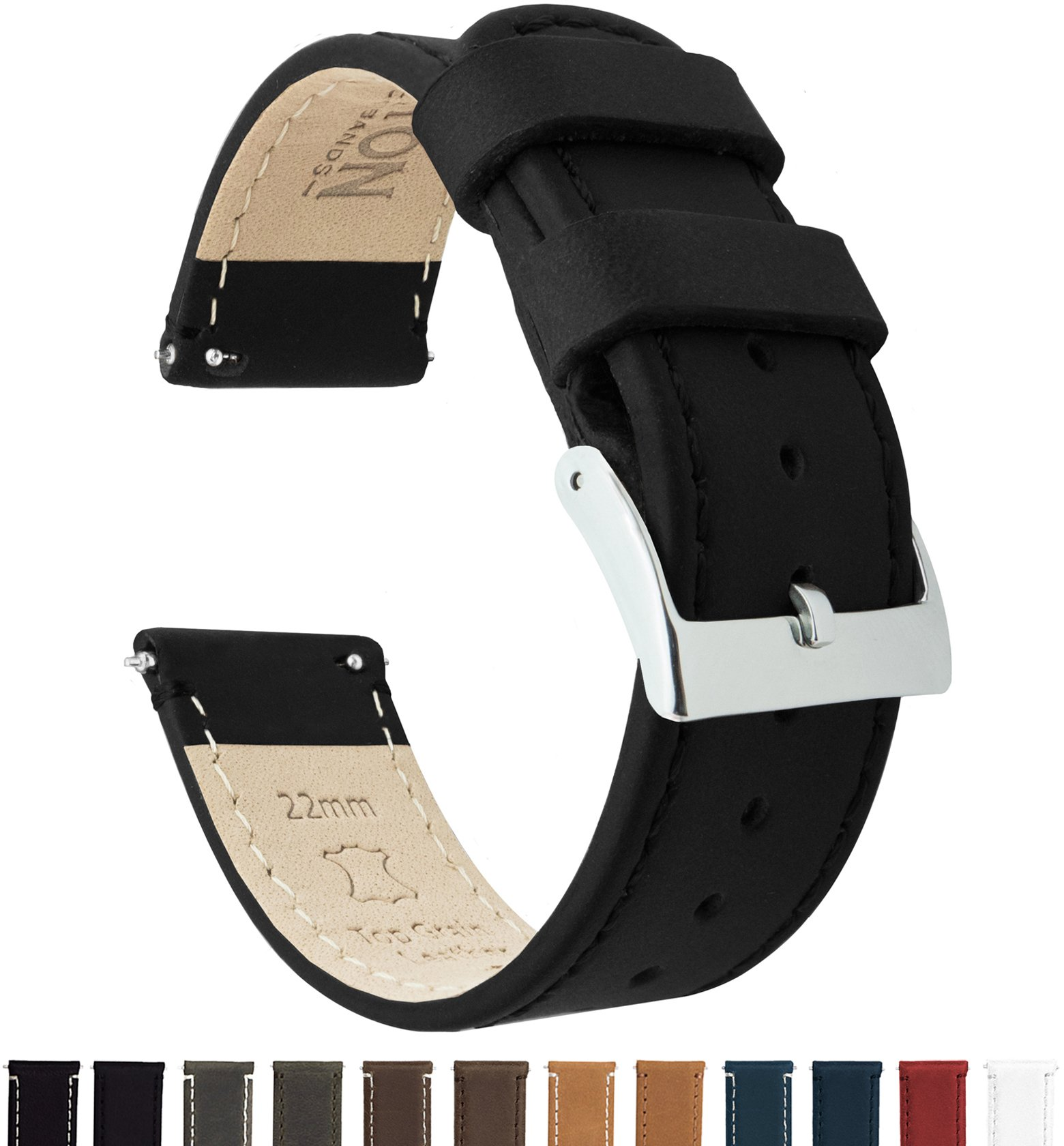 Barton Quick Release - Top Grain Leather Watch Band Strap - Choice of Width - 16mm, 18mm, 19mm, 20mm, 21mm 22mm, 23mm or 24mm - Black 22mm by Barton Watch Bands