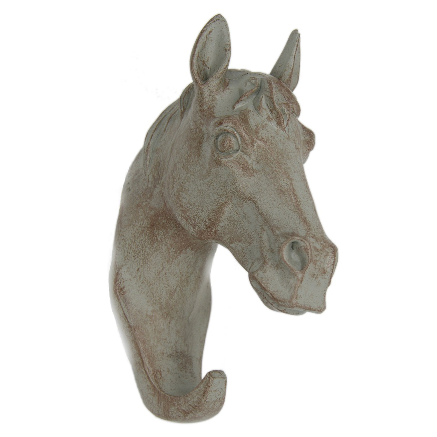 ZOZ Horse Head Single Wall Decoration Hook Animal Shaped Resin Hanger (Grey)