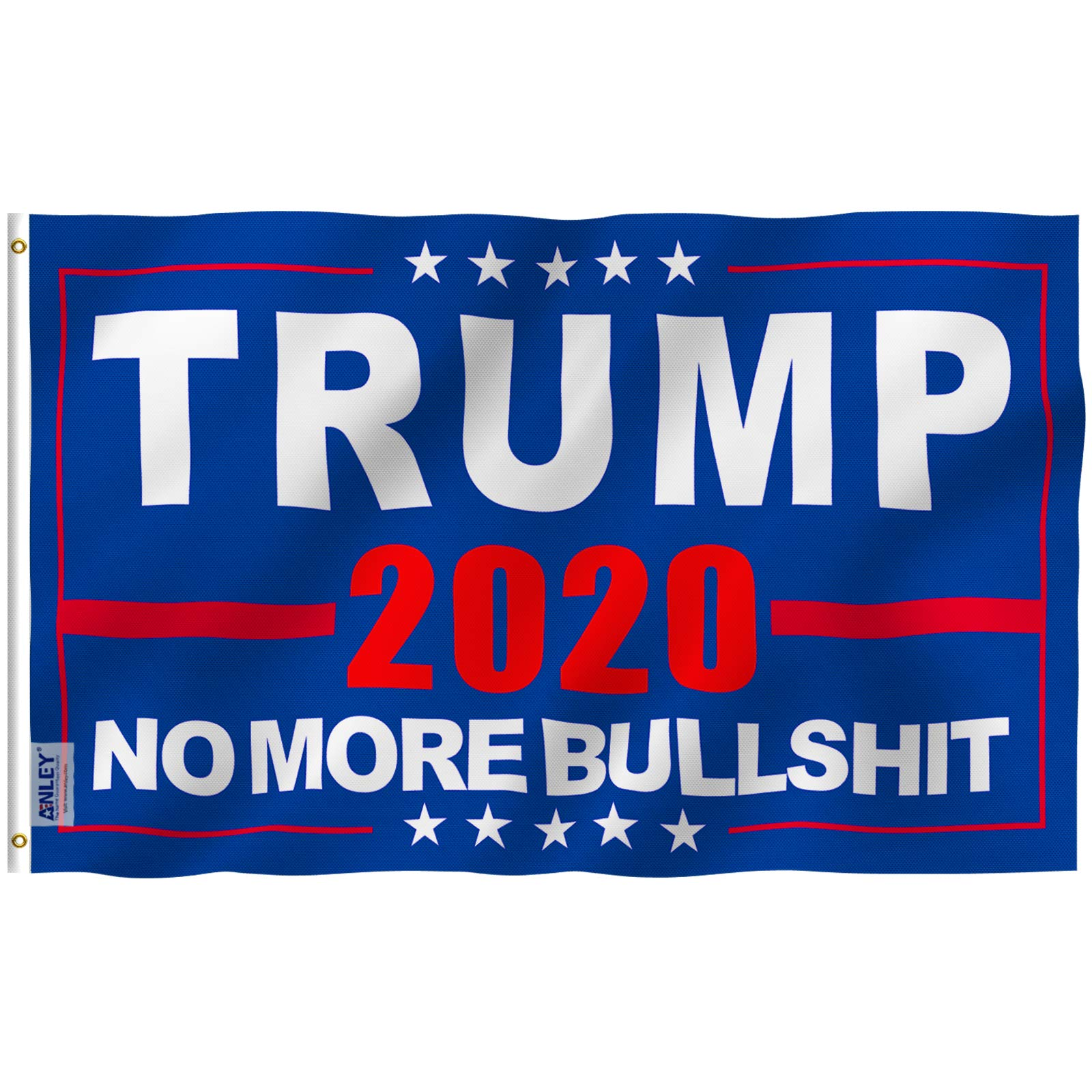 Anley Fly Breeze 3×5 Foot Donald Trump 2020 Flag – Vivid Color And UV Fade Resistant – Canvas Header And Double Stitched – NO More Bullshit Flags Polyester With Brass Grommets 3 X 5 Ft