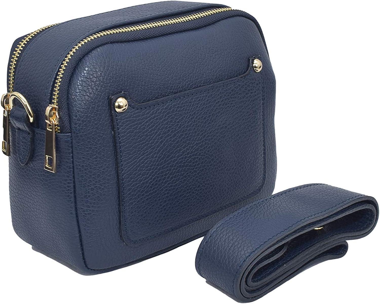 A to Z Leather Sac compact à bandoulière en cuir souple grainé pour femme doté de deux fermetures zippées et d'une poche porte-carte externe Bleu Marine