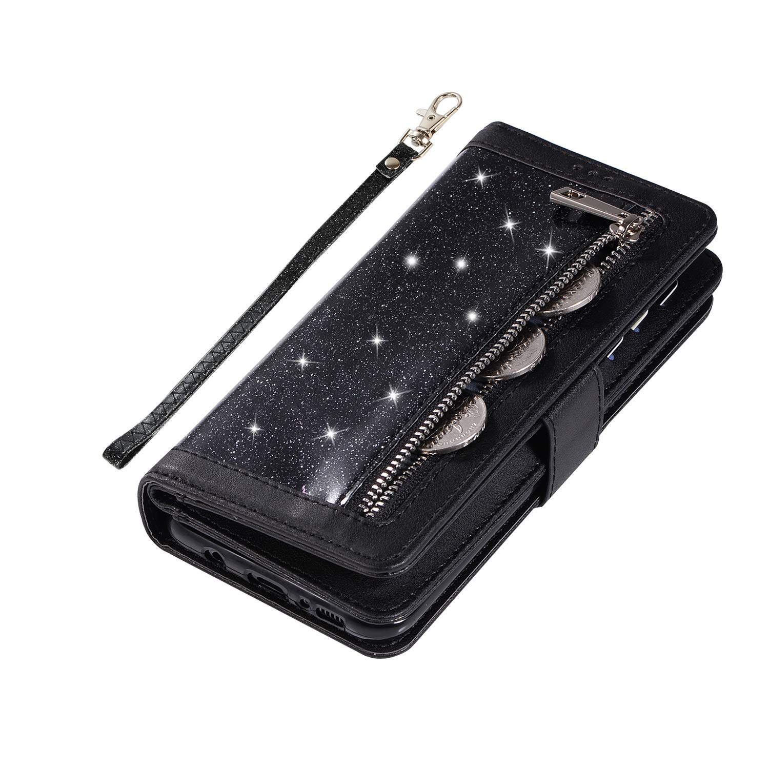 Shinyzone Glitter PU Case for Samsung Galaxy S8,Wallet Leather Flip Case with Zipper Pocket,Bling Cover with 9 Card Holder and Wrist Strap Magnetic Stand Function,Black by Shinyzone (Image #6)