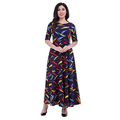 5aa962905fb1 ROZVEH Women's Navy Blue Leaf Print Designer Maxi Dress: Amazon.in ...