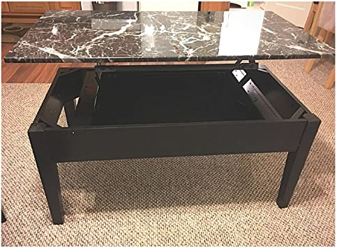 Amazon Com Faux Marble Coffee Table Lift Top Storage Wood Modern