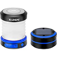 Kizen Solar Powered LED Camping Lantern - Solar or USB Chargeable, Collapsible Space Saving Design, Emergency Power Bank…