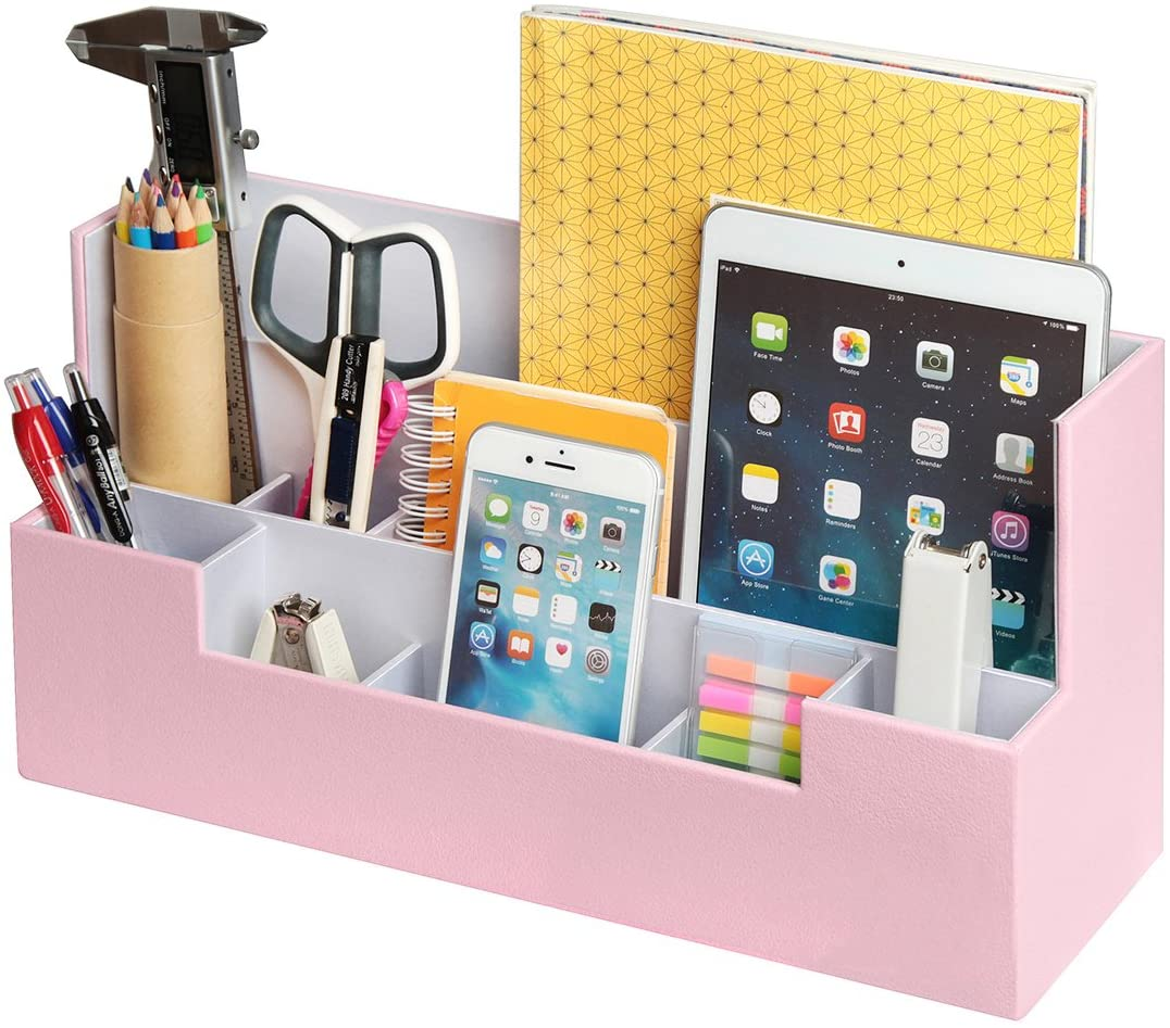- MK268D rosa tel/éfono JackCubeDesign Cuero Escritorio Oficina Papeler/ía Organizador Suministros Caja de almacenamiento Caja Bandeja Caddy Soporte de papel para cosm/éticos tableta