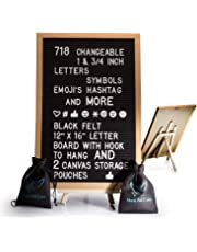 Black Felt Letter Board with Easel Stand 12 x 16 | 718 Changeable Characters Including 1 inch and ¾ Letters, Symbols, Emojis Hashtag and More | Hook to Hang | 2X Canvas Storage Pouches
