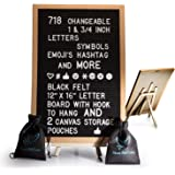 Black Felt Letter Board with Easel Stand 12 x 16 | 718 Changeable Characters Including 1 inch and ¾ Letters, Symbols…