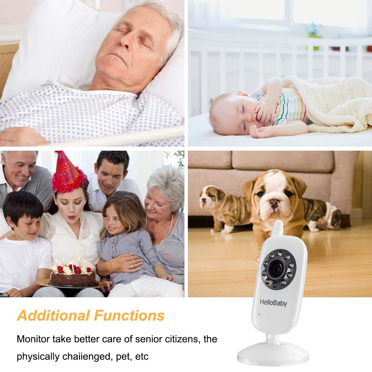 HelloBaby Video Baby Monitor with Camera - Infrared Night Vision, Two-Way Talk Back, Screen, Temperature Detection, Lullabies,Long Range, Private Data Protection and High Capacity Battery by HelloBaby (Image #9)