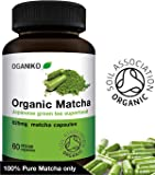 Organic Matcha Green Tea supplement from Japan - Powerful Antioxidant Energy Booster - 60 Easy-to-swallow Vegan capsules - Soil Association Certified Green Tea Tablets