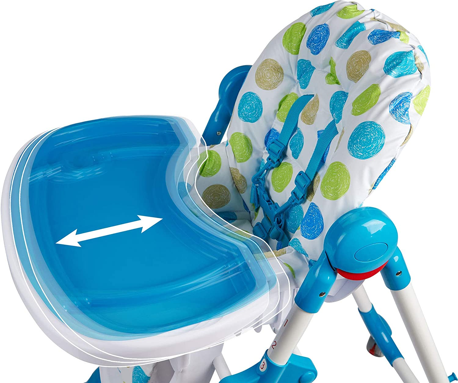 Foldable ib style/® Jule Circles Blue Premium high Chair with Adjustable seat 5-Point Security Belt
