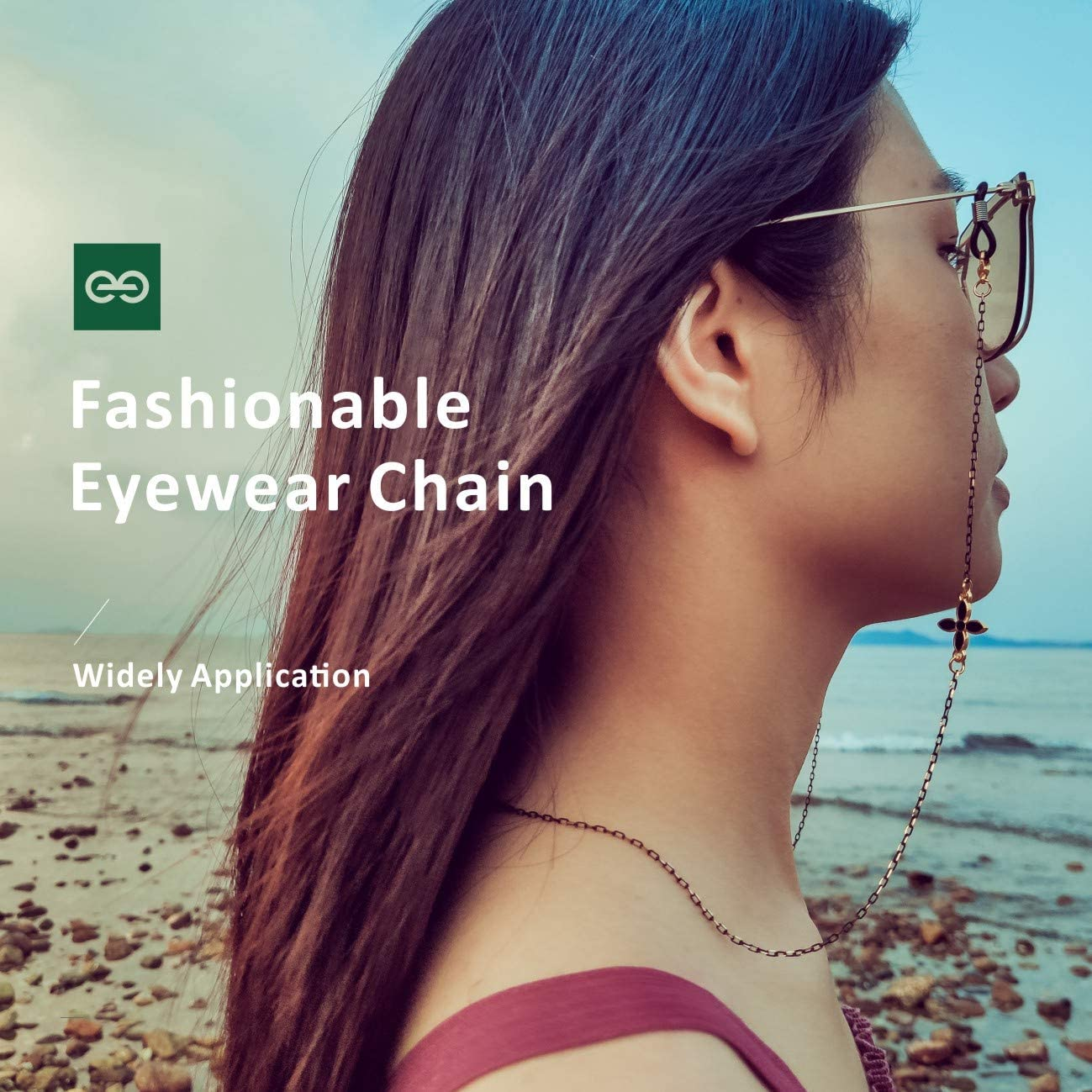 Cord/ón para gafas de sol Gafas de lectura Cordones con anillo de goma antideslizante Correa retenedora de gafas Eli-time Cadena de anteojos para mujer Collar Lady