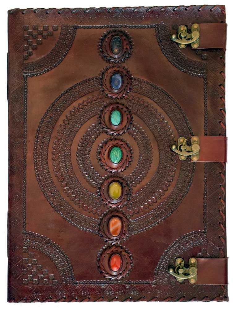 Leather Embossed Chakra Stones Journal 13.5''x18''
