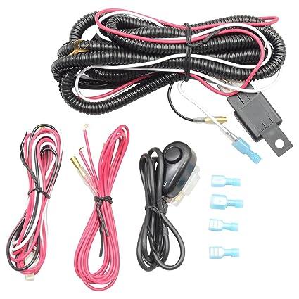 amazon com: lights wiring harness kits fits most cars | universal fog lamps wiring  harness kits lamp led work light bar & switch & relay by ikon