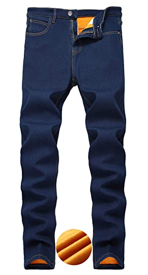 7d76b2eb Lingswallow Mens Fleece Lined Jeans Slim fit Stretch Thicken Winter Warm  Jeans Blue