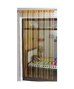 ACE INTERNATIONAL EXPORTS Polyester Yarn String Thread Door Curtain for Door Curtain/Window Curtain with Beads Moti Curtain (7 Feet, Coffee)