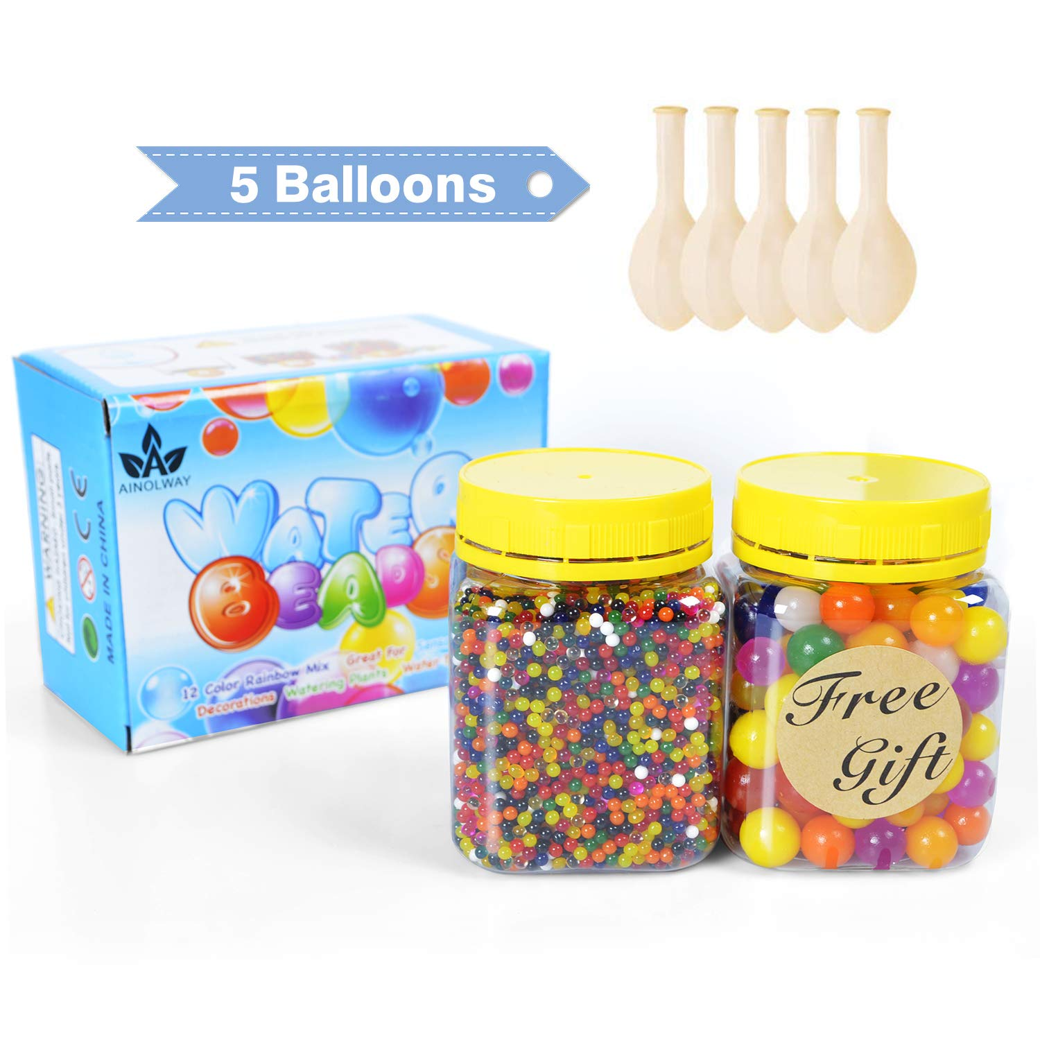 AINOLWAY Water Beads Pack Rainbow Mix for Orbies Spa Refill Kid Sensory Toys and Vase Décor 20000 Small Water Beads 100 Large Jumbo Water Beads 5 Balloons
