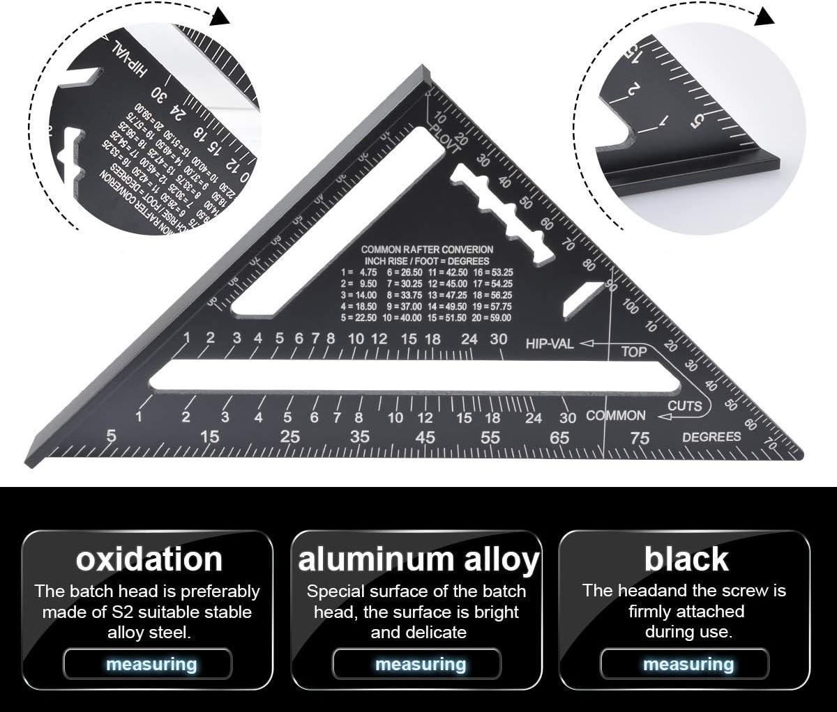color negro HOHXEN Regla de aluminio para carpintero f/ácil de leer, 17,78 cm