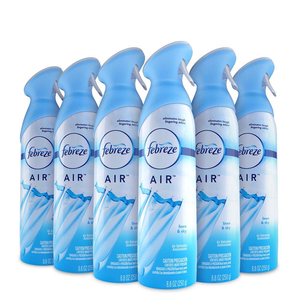 Febreze Air Freshener and Odor Spray, Linen & Sky Scent, 8.8 Oz, 6 Pack