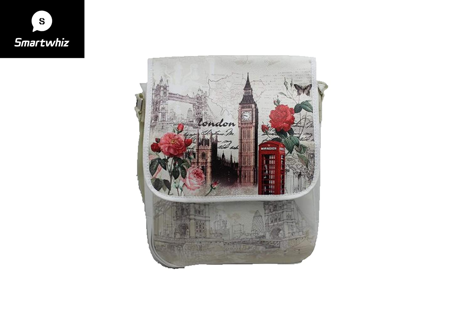 Smartwhiz London Big Ben Tower Clock Design Premium Messenger Bag for School Work and Travel Unisex Cross-body Bag
