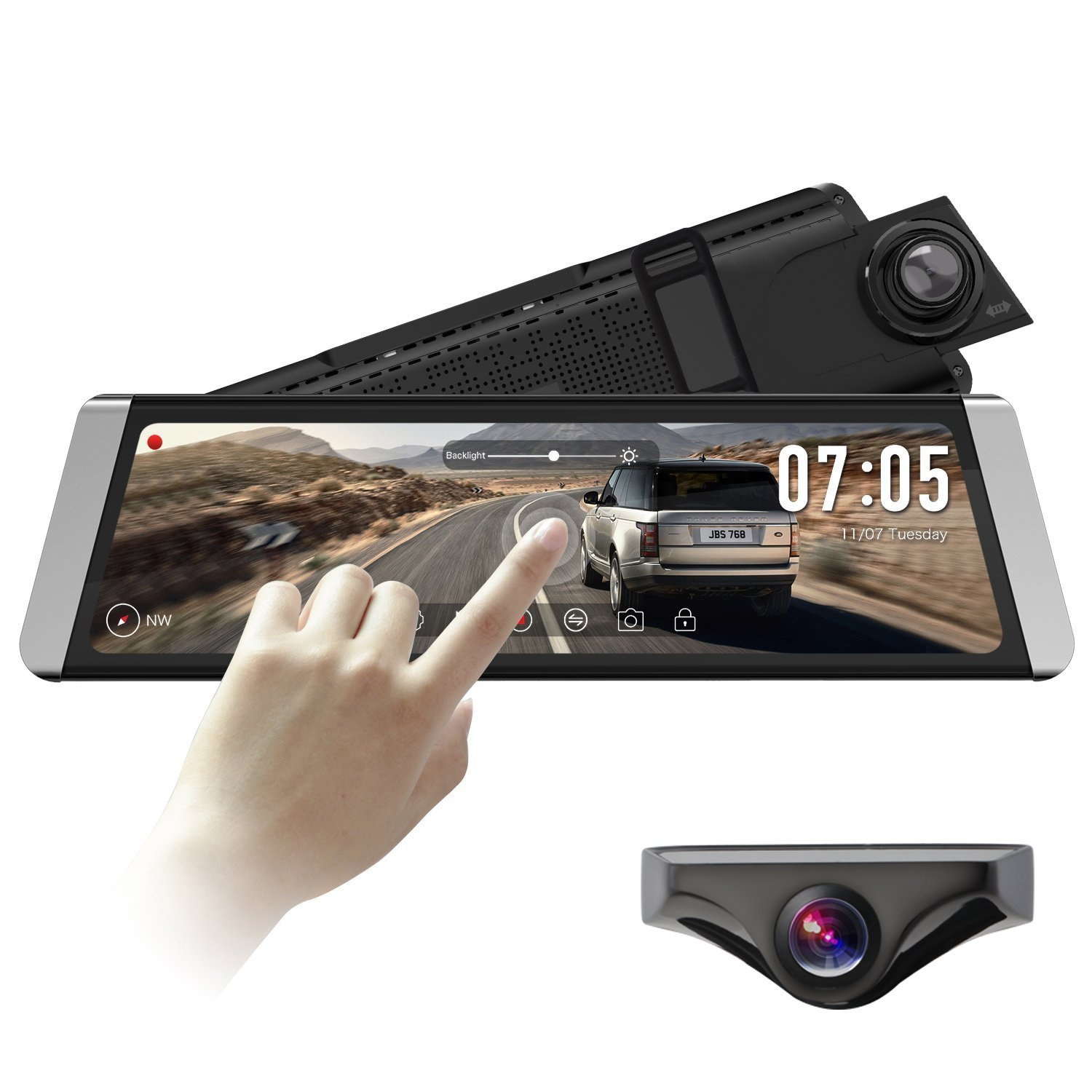 AUTO-VOX X1 9.88''Full Touch Screen Stream Media Dual Lens Mirror Dash Cam AHD Reversing Backup Camera kit,1296P FHD Front Camera and 720P Rear View Recorder Dash Cam with Auto Brightness,WDR,LDWS,GPS