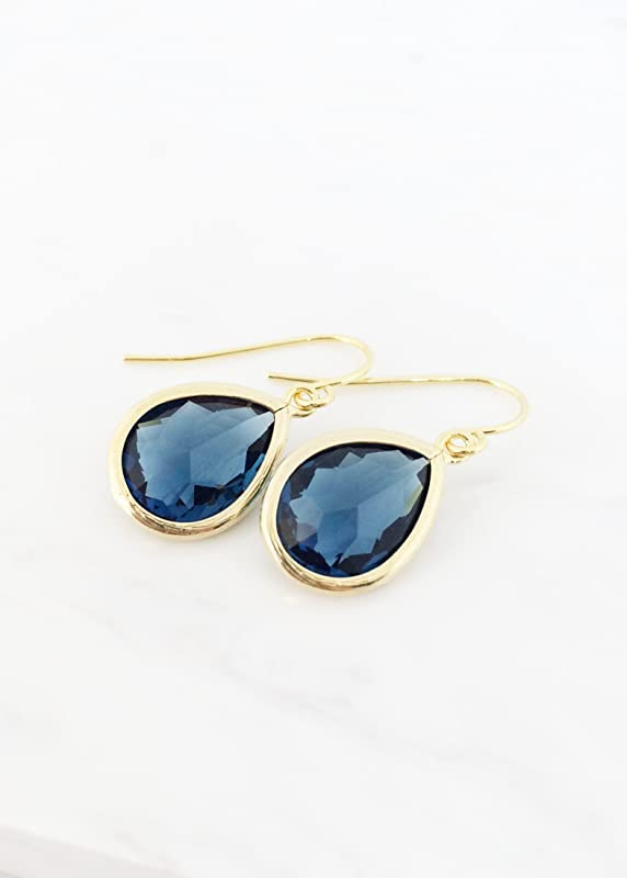 CLOSING SHOP SALE Navy Blue Earrings  Montana Blue Earrings  Gold Blue Bridesmaids Earrings  Dark Navy earrings  Ink Blue Earrings