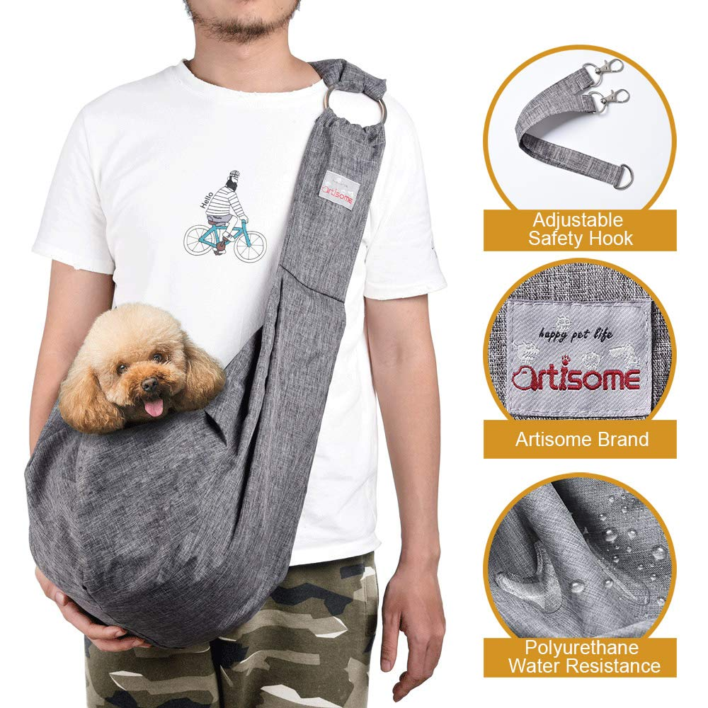 artisome Reversible Small Medium Dog Cat Sling Carrier Bag Suitable for 8-15 lbs Dogs Cats Puppy Carrying Purse Waterproof Travel Hand-Free Pet Backpack Adjustable Strap by artisome