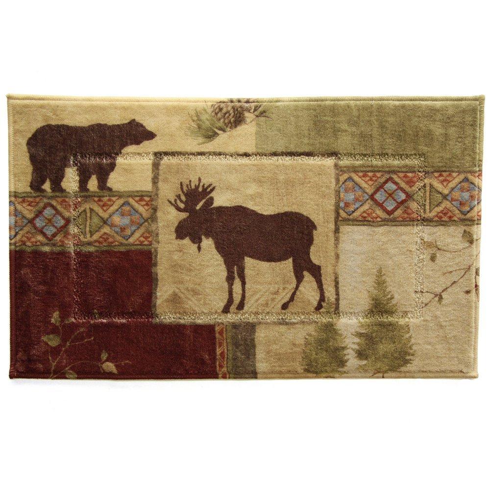 Moose Bear Bath Rug Wildlife Rustic Cabin Lodge Nature Mat