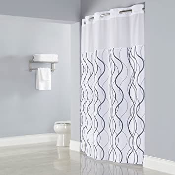 Amazon HOOKLESS WAVES SHEER Polyester Shower Curtain with 12