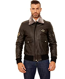 homme Aviator Veste D'arienzo couleur en de fonc cuir marron pour 3TlKF1Jc